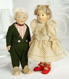 Pair, German Felt Character Children by Steiff in Original Costumes 1400/1800