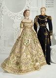 American Porcelain Portrait of Queen Elizabeth II,Coronation Gown by Martha Thompson 1500/2100
