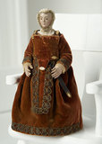 18th Century French Wooden Cage-Skirt Doll in Rare Petite Size 1000/1300
