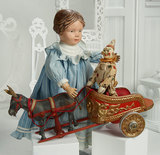 American Wooden Girl with Carved Braided Hair, Model 102, by Schoenhut 900/1200