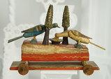 Rare German Wooden Mechanical Squeak Toy on Wheels 600/900
