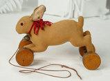 German Brown Felt Pull-Toy Bunny on Wooden Wheels by Steiff 600/800