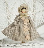 All-Original Grodnertal Miniature Doll with Carved Tuck Comb and Wonderful Costume 500/700