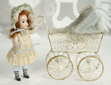 German All-Bisque Miniature Doll with Rare Shoes by Simon and Halbig 800/1100