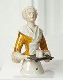 German Porcelain Half-Doll with Rare Brown Blouse Known as Baker's Cocoa Lady 300/500