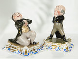 Pair, German Porcelain Miniature Amusing Figures 400/500