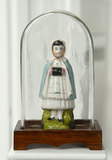 German Porcelain Figure of Young Girl under Glass Dome 200/300