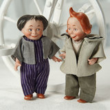 Pair, German All-Bisque Characters