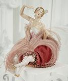 German Porcelain Half-Doll as Gilded Hair Flapper on Pincushion 400/600