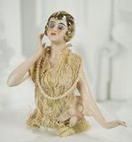 German Porcelain Half-Doll with Rare Gold Hair 300/400