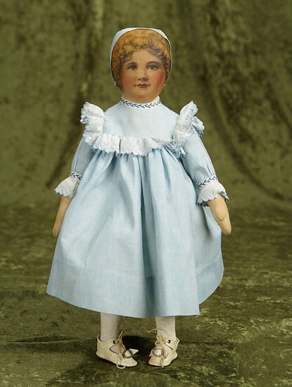 "14"" American cloth doll by Babyland Rag in original costume. $400/500"
