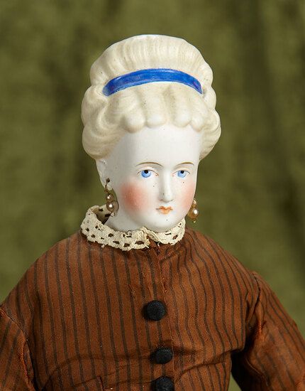 "18"" German bisque portrait lady, sculpted hair bow, orig costume, Ex-Legoland Museum. $500/700"