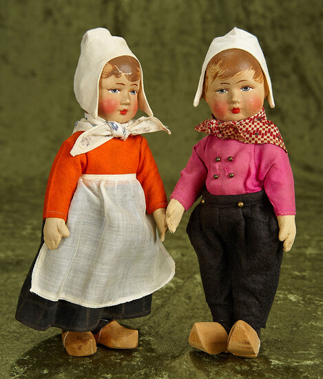 """9"""" Pair, German Cloth Character Children Attributed to Bing with original costumes. $600/900"""