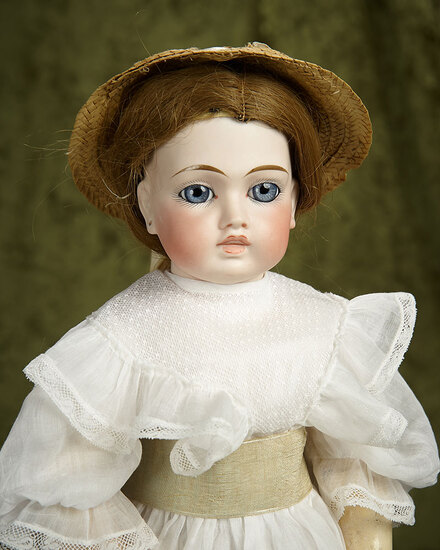 """20"""" Sonneberg bisque closed mouth doll in Bru look-alike manner, rare painted teeth. $1100/1300"""