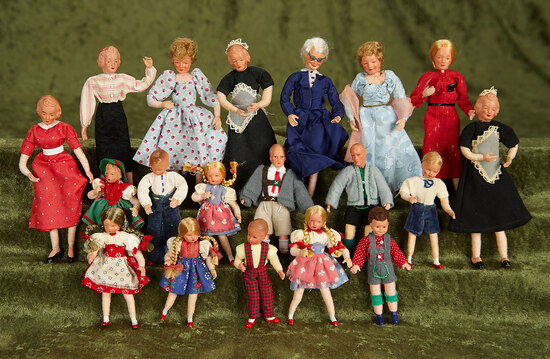"3""-5"" Twenty German poseable dollhouse dolls in original costumes by Caco. $400/600"