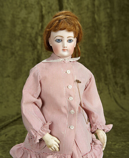 """19"""" French bisque poupee by Gaultier with gorgeous blue eyes, antique gown. $2200/2500"""
