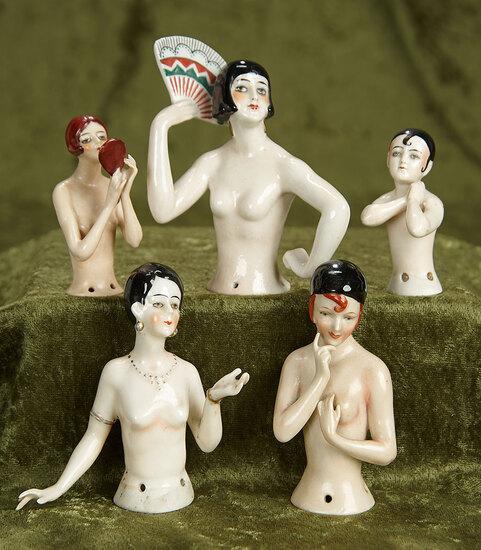 """3""""-4"""" Five German Porcelain Flapper Half-Dolls. $800/1100"""