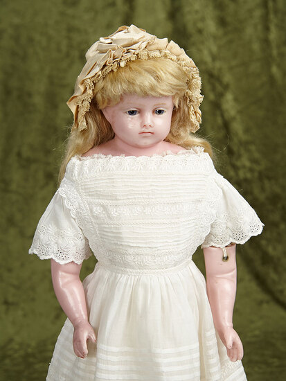 """21"""" Beautiful English poured wax child with very beautiful face,original costume. $1100/1500"""