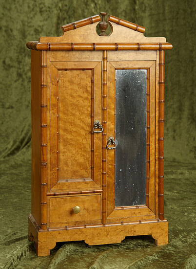 """20""""h. French maple wood mirrored armoire with birdseye finish. $600/900"""