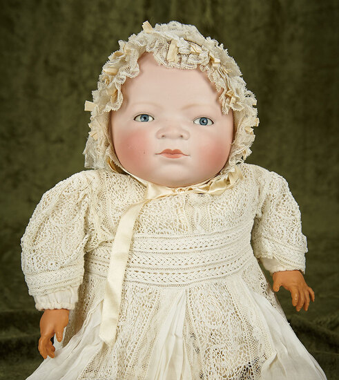 Life-size Largest German bisque Bye-lo baby, original body and gorgeous antique costume. $500/700