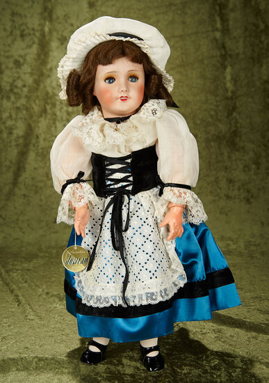 "20"" French bisque bebe by SFBJ/Jumeau in original folklore costume of Lorraine $300/500"