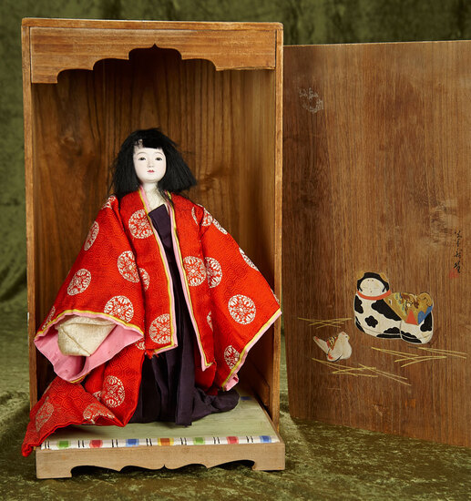 Japanese paper mache child in elaborate original costume, original presentation box $300/400