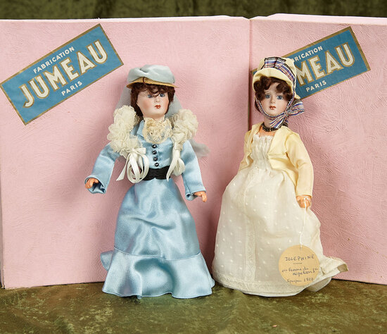 French bisque portrait dolls, historical fashion late era Jumeau,Jumeau boxes FAO Schwarz $400/600