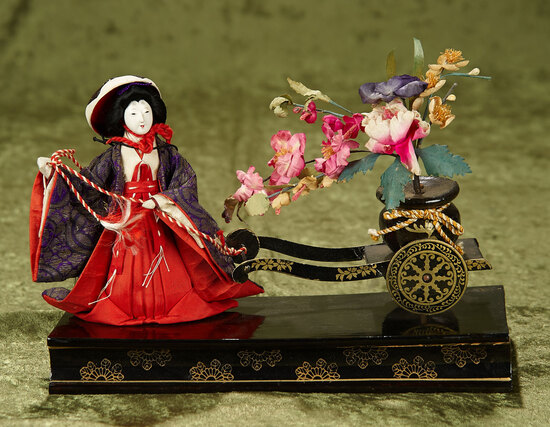Japanese miniature vignette of lady with wheeled cart of silk flowers $200/300