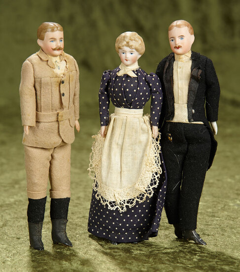 Three German bisque dollhouse dolls in factory original costumes $400/500
