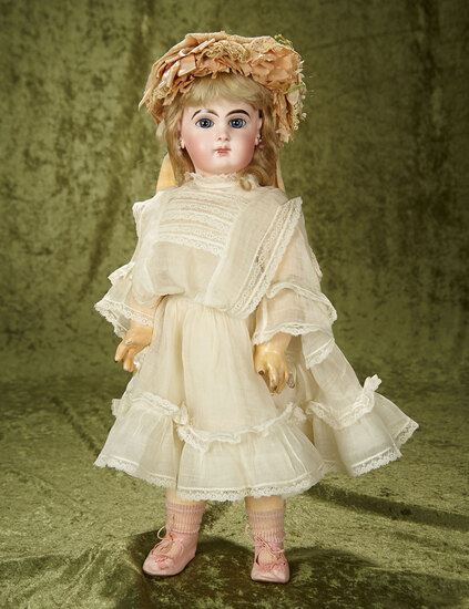 French bisque Bebe E.J. by Emile Jumeau with gorgeous eyes, fine antique costume $3000/3800