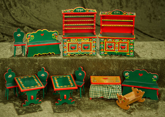 Lot of German wooden dollhouse furnishings with original painted finish $200/300