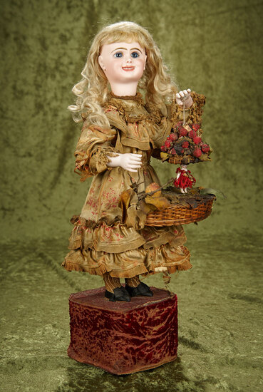 "French bisque musical automaton ""Smiling Girl with Surprise Dancing Doll"" Leopold Lambert $5000/7500"