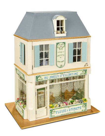 "French wooden miniature shop ""Au Jardin d'Englantine"" commissioned from Au Nain Bleu $300/500"