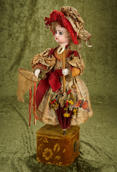 "French musical automaton ""Little Girl Catching Butterflies"" by Leopold Lambert $4000/5500"