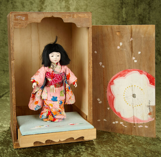 Japanese paper mache young girl, wonderful original costume,original box,artist signature $300/400