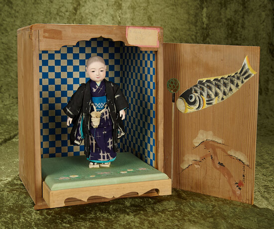 Japanese paper mache young boy, original costume, orig hand-painted box, artist signature $300/500