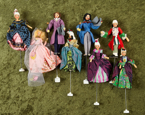 Eight German cloth miniature puppet dolls in the Rococo theme by BAPS $200/300