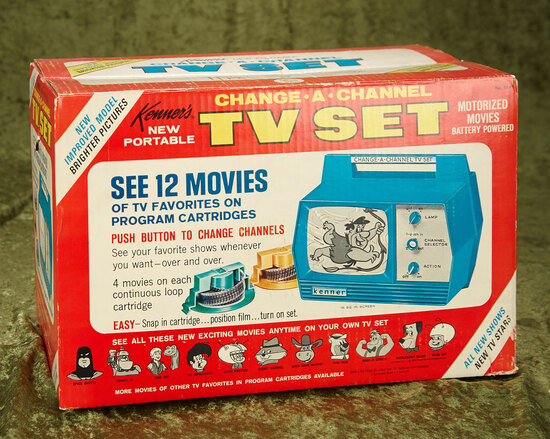 """Change-A-Channel"" TV set with twelve TV show cartridges by Kenner, NRFB $100/200"