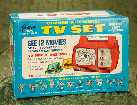 """Change-A-Channel"" red TV set with twelve TV show cartridges by Kenner, NRFB $100/200"