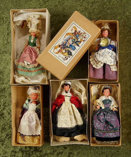 Five small French dolls in original folklore costumes, original boxes, by Le Minor $100/200