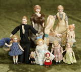 Lot, German bisque miniature dolls including all-bisque and dollhouse dolls $300/400