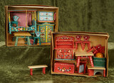 German wooden dollhouse furnishings in original boxes (two sets) with painted decorations  $200/300