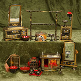 Lot, Japanese black-lacquered miniature furnishings and accessories $300/500