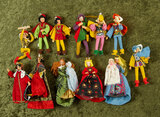 Twelve miniature cloth dolls with royalty theme by BAPS, early US Zone era $400/500