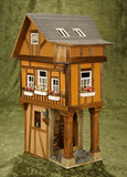 French miniature wooden three-story half-timber dollhouse, Catherine Riffault, Au Nain Bleu $200/300
