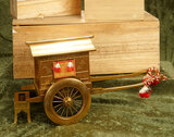 Very fine Japan gold lacquered sedan chair on double-wheeled cart, original wooden boxes $700/900
