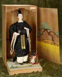 Japanese paper mache Nobleman with gofun complexion, original costume, accessories, box $600/800