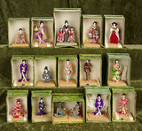 Collection of fifteen miniature Japanese Kyoto-Bijan, stylish ladies, orig stands and boxes $300/400