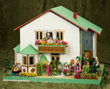 German wooden dollhouse by BAPS with hand-painted fairy tale scenes and eleven BAPS dolls $500/800
