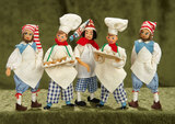 Five German cloth miniature dolls as bakers by BAPS $200/300